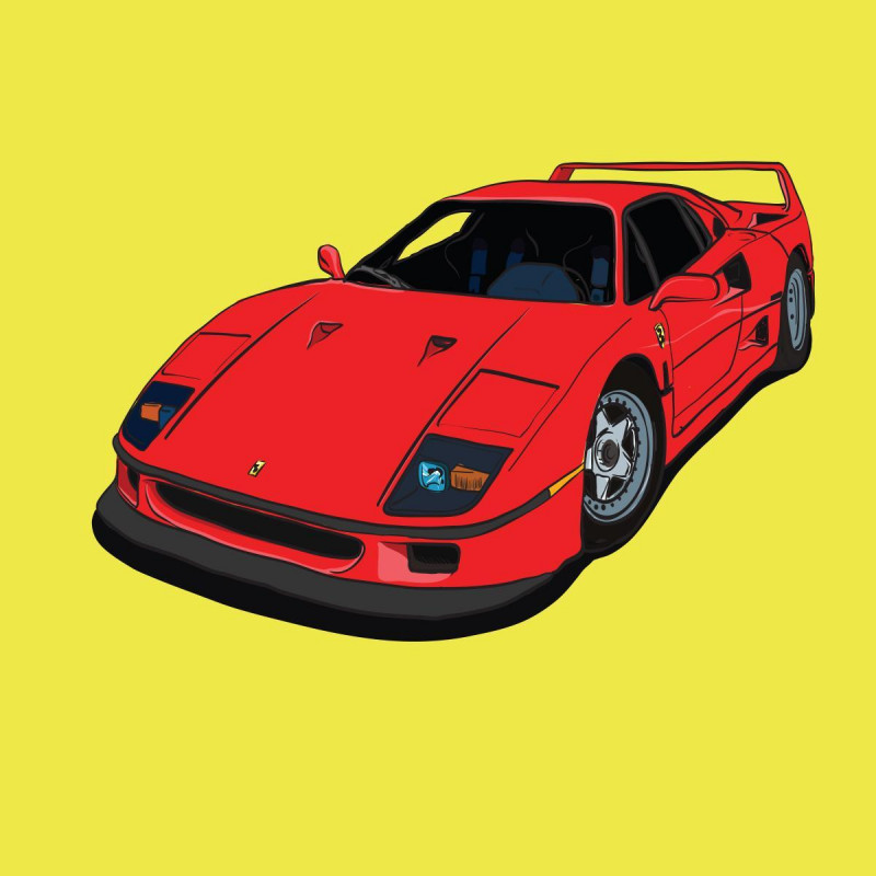 Buy Cartoon Ferrari F40 Online | Car Wall Art | Poster Prints Online ...