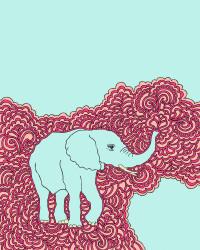 Elephant Drawing Meditation - Blue