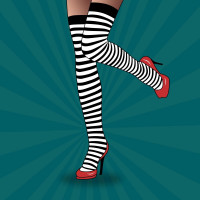 Feet With Striped Tights