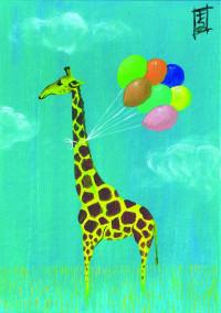 Giraffe With Balloons