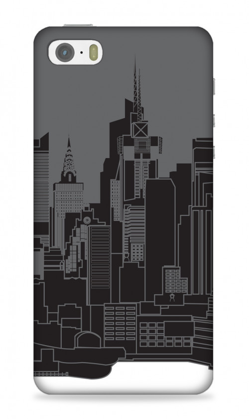 NYC In Black And White Outlined